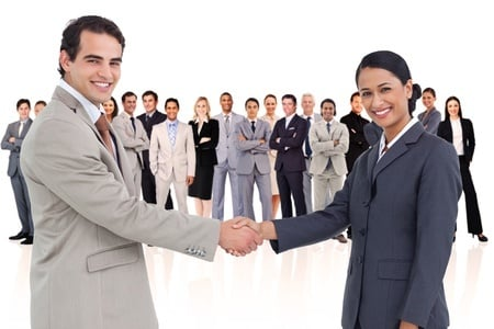 16204934 - business people shaking hands against a white background